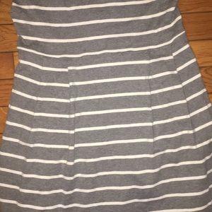 LOFT Dresses - LOFT gray pleated cotton dress, Gray /White, Small